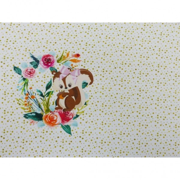 """French Terry Panel """"Flower Squirrel"""" by From..."""