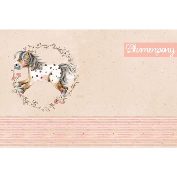 """80 cm BIO-French Terry-Panel """"Mein kleines Blumenpony"""" fra Tante Gisi"""