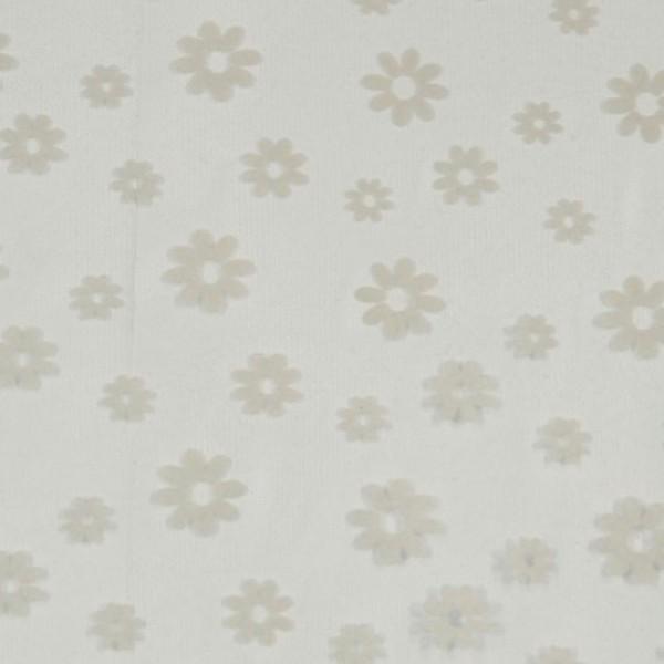 Hvid Tyl med blomster